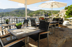 Mallorca restaurant view. A outdoor dining area in the town of Soller Royalty Free Stock Photos