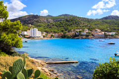 Mallorca scenery. Scenic view on the shore and mountains around Sant Elm on Mallorca island, one of the Spanish Balearic islands royalty free stock photography
