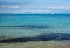 Mallorca seascape with boats. On a sunny winter day in February, Mallorca, Spain Stock Photography