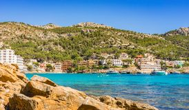 Mallorca, seaside landscape of Sant Elm. Beautiful coast of Sant Elm on Majorca island, Spain Mediterranean Sea Royalty Free Stock Photos