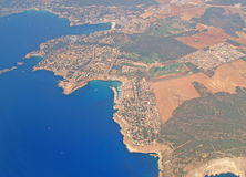 Mallorca from the sky. Aerial view of Mallorca Royalty Free Stock Photo