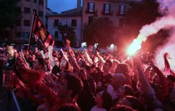 Mallorca soccer fans celebrate after promoting to higher division. Mallorca soccer team supporters celebrate in palma after their team Real Mallorca won the Royalty Free Stock Photography