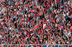 Mallorca soccer team supporters stadium. Real Mallorca soccer team supporters during a match at home stadium in Mallorca, Spain Royalty Free Stock Images