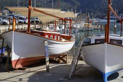 Mallorca Soller port harbor with wooden boats Royalty Free Stock Photography