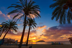Mallorca-Sonnenaufgang in Strand Magaluf Palmanova Lizenzfreies Stockbild