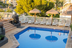 MALLORCA, SPAIN - JULY 16: Water pool in  boutique hotel Bon Rep Stock Photo