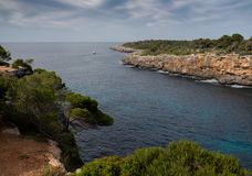 Mallorca, Spain; March 17, 2018: Other Views of Mallorca pi creek. Mallorca, Spain; March 17, 2018: Caves of mallorca sea and mountains Royalty Free Stock Image