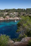 Mallorca, Spain; March 17, 2018: Views of Mallorca`s pi creek. And ship Royalty Free Stock Photo