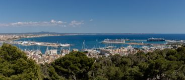 Mallorca, Spain; March 16, 2018: views of Palma del Arenal mallorca from the castle of Bellver stock images