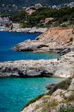 Mallorca, Spain; March 22, 2018: views of paradisiacal coves of royalty free stock photography