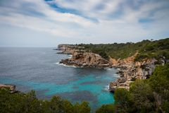 Mallorca, Spain; March 17, 2018: views of paradisiacal coves of stock images