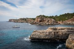 Mallorca, Spain; March 17, 2018: views of paradisiacal coves of stock photography