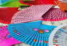 Colourful Spanish fans in the Sineu market royalty free stock images
