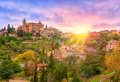 Mallorca, Spain. Sunrise in Valdemossa valley, Mallorca, Spain. This is the place where George Sand and Frederic Chopin spent their holidays in 1838 Stock Image