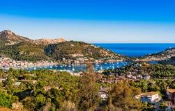 Mallorca Spain, view of beautiful island scenery of Port de Andratx. Idyllic view of marina Port de Andratx, seaside landscape on Majorca island, Spain Royalty Free Stock Image