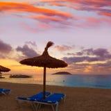 Mallorca sunrise in Magaluf Palmanova beach Stock Images