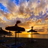 Mallorca sunrise in Magaluf Palmanova beach Royalty Free Stock Photo