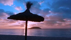 Mallorca sunrise in Magaluf Palmanova beach Magalluf in Balearic Islands stock footage