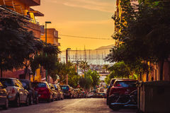 Mallorca Sunset Road view to the bay. Mallorca Sunset Bay Road View Stock Photo