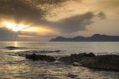 Mallorca sunset view landscape. View from Mallorca beach Can Picafort Royalty Free Stock Photography