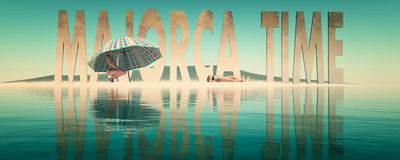Mallorca time. Letters of majorca and womans in the beach Royalty Free Stock Images