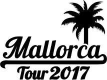 Mallorca Tour 2017 with palm. Vector royalty free illustration