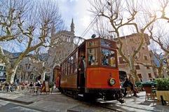 Mallorca tram. Tram on mallorca with a church Royalty Free Stock Image
