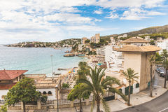 Mallorca, view of Cala Mejor beach. Hotels and seaside of this beautiful beach in Majorca. Summer, tourism and travel concepts Royalty Free Stock Photos
