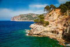 Mallorca west coastline. Beautiful view of Mallorca west coastline with its pine trees and mountains stock images
