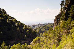 Mallorcan city of Inca. Seen through mountains Royalty Free Stock Photos