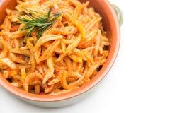 Malloreddus alla Campidanese. Sardinian pasta with pork sausage and tomato sauce, traditional recipe Royalty Free Stock Image