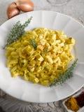 Malloreddus pasta with mozzarella Stock Image