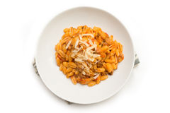 Malloreddus with ragout and cheese Royalty Free Stock Photo