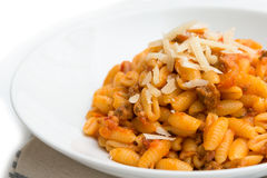 Malloreddus with ragout and cheese Royalty Free Stock Image