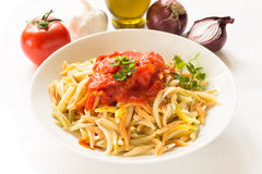 Malloreddus with tomato sauce, Sardinian pasta Royalty Free Stock Photography