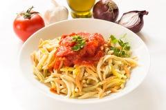 Malloreddus with tomato sauce, Sardinian pasta Royalty Free Stock Photography