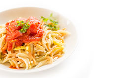 Malloreddus with tomato sauce, Sardinian pasta Stock Photo