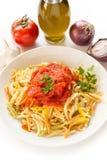 Malloreddus with tomato sauce, Sardinian pasta Stock Images