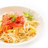 Malloreddus with tomato sauce, Sardinian pasta Royalty Free Stock Photos