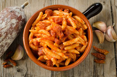 Malloreddus with tomato sauce and sausage Stock Images