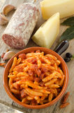 Malloreddus with tomato sauce and sausage Stock Photos