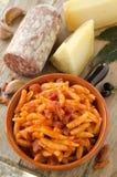 Malloreddus with tomato sauce and sausage Stock Photos