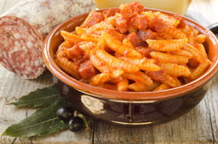 Malloreddus with tomato sauce and sausage Stock Image