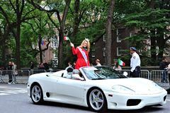 Mallory Hagan. Miss  New York, Mallory Hagan, salutes people gathered on 5th Avenue during the 68th Annual Columbus Day Parade, New York City, October 8, 2012 Royalty Free Stock Image