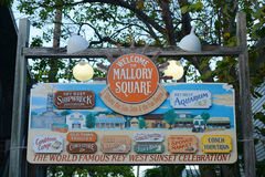Mallory Square, Key West, Florida. Colorful signs at the entrance of Mallory Square, Kew West, Florida, USA Stock Photos