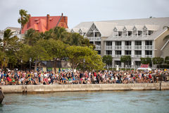 Mallory Square - Key West, Florida. Hundreds of tourists gathering at Mallory Square is a plaza located in the city of Key West, Florida, United States for the Stock Photos