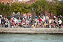 Mallory Square in Key West, Florida. Hundreds of tourists gathering at Mallory Square is a plaza located in the city of Key West, Florida, United States for the Royalty Free Stock Photo