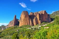 Mallos de Aguero i Spanien arkivbilder