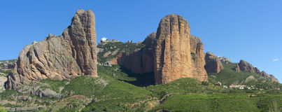 The Mallos de Riglos, Aragon, Spain. The Mallos de Riglos are a set of conglomerate rock formations in Hoya de Huesca comarca, Aragon, Spain Stock Images