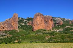 Mallos de Riglos icon shape mountains in Huesca. Aragon Spain Royalty Free Stock Photo